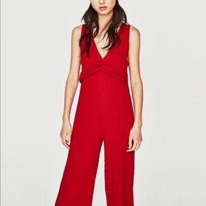Zara Red Ribbed Jumpsuit